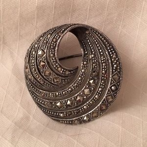 Vintage Sterling Silver Marcasite Swirl Pin 925